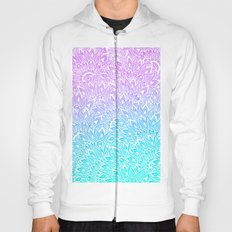 White mandala henna pattern illustration Mermaid purple turquoise watercolor floral pattern Hoody