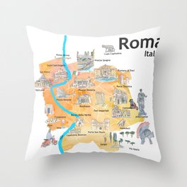 Rome Italy Illustrated Travel Poster Favorite Map Tourist Highlights Throw Pillow