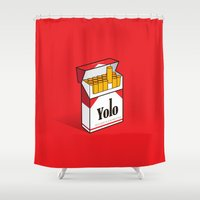 yolo Shower Curtains featuring YOLO Cigarettes  by RJ Artworks