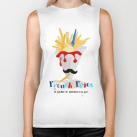 french fries Biker Tanks featuring French Fries by Elisandra
