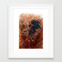 good omens Framed Art Prints featuring Good Omens: Only a Feather by Katerina Romanova
