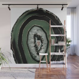 Green Black Agate with Gold Glitter #1 #gem #decor #art #society6 Art Wall Mural