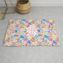 And though she be but little she is fierce. Tropical Foliage Pattern (TFP1) Rug