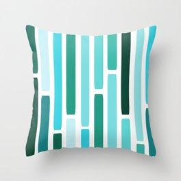 Mid Century Modern Stripes Turquoise Throw Pillow