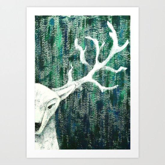 Christmas Stag handpainted Art Print