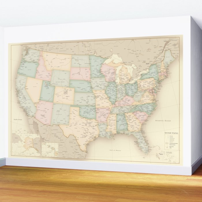 "Vintage map of the USA, high detail, ""librarian"" Wall Mural"