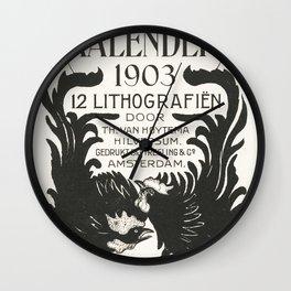 Aankondiging voor kalender 1903 (ca 1878-190) print in high resolution by Theo van Hoytema Wall Clock