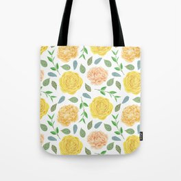 Hand painted yellow coral watercolor modern floral Tote Bag