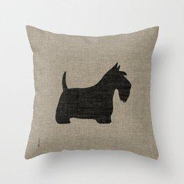 Scottish Terrier Scottie Silhouette Throw Pillow
