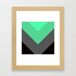 Mint Green Gray Chevron Stripes Framed Art Print
