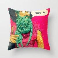 attack on titan Throw Pillows featuring Titan by Alec Goss