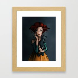 The black cat and his lady Framed Art Print
