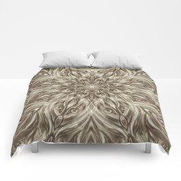 off white sepia swirl mandala Comforters