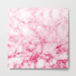 Red/Pink Marble Texture Pattern Metal Print