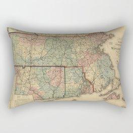 Vintage Massachusetts Railroad Map (1879) Rectangular Pillow