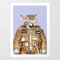 Space Kitten Purple Art Print
