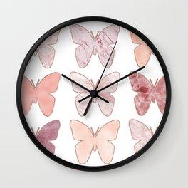 Mixed berry marble butterflies Wall Clock