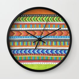 brightly colored patterned stripes Wall Clock