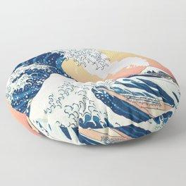 Great Wave Off Kanagawa Mount Fuji Eruption Gradient Orange and Yellow Floor Pillow