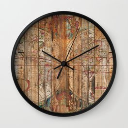Reclaimed Wood Map Wall Clock