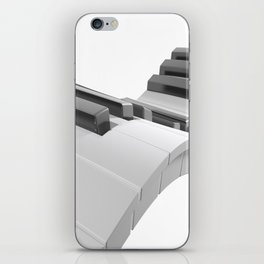 Keyboard of a piano waving on white background - 3D rendering iPhone Skin