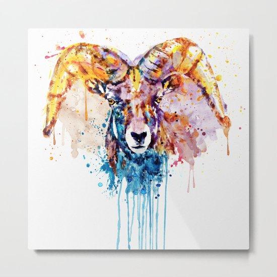 Bighorn Sheep Portrait Metal Print
