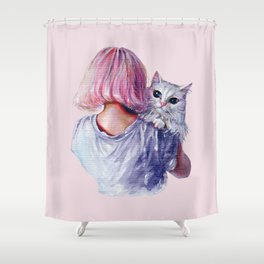 Pink Cuddles Shower Curtain