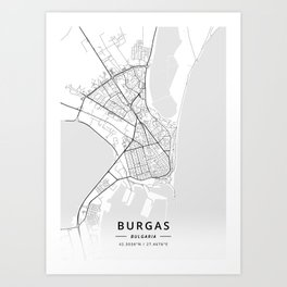 Burgas, Bulgaria - Light Map Art Print