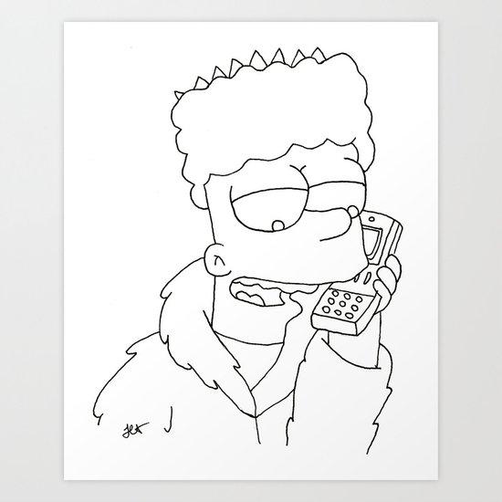 Bart Simpson Gangsta Art Print By Jasminassandri Society6
