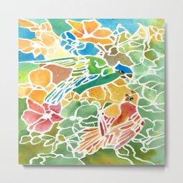 Parakeet Stain Glass Metal Print