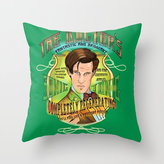 The Doctor's Sonic Tonic! 2.0 Throw Pillow