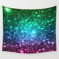 glitter Wall Tapestries featuring glitter Cool Tone Ombre by 2sweet4words Designs