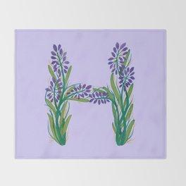 Leafy Letter H Throw Blanket