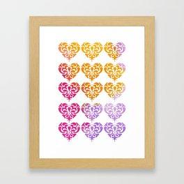 Rainbow Watercolor Damask Heart Framed Art Print