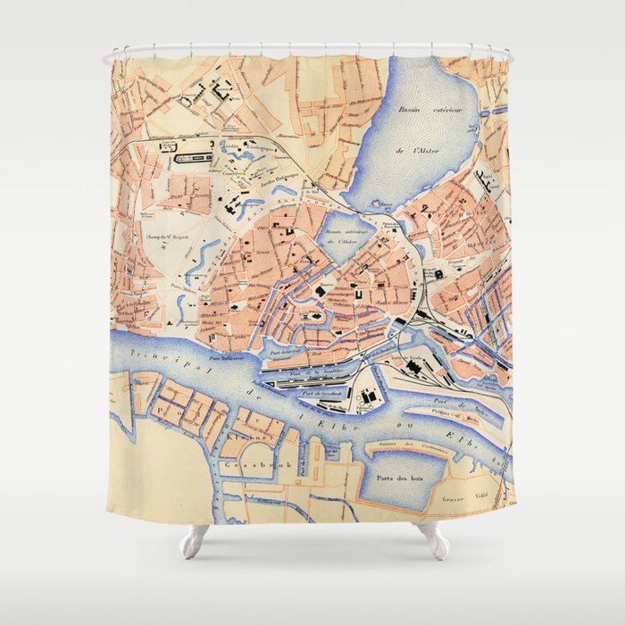 Vintage Map of Hamburg Germany (1888) Shower Curtain