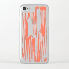 Bamboo Stripes White on Deep Coral Clear iPhone Case