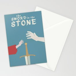 The sword in the stone, minimalist movie poster, animated film, King Arthur, Merlin, retro playbill Stationery Cards