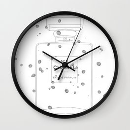 black splatter perfume Wall Clock