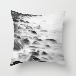 Long Exposure Water (Black and White) Throw Pillow