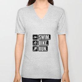 Swim Bike Run Block 2 Unisex V-Neck