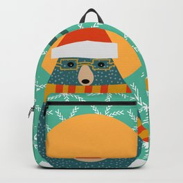Christmas bear and two little owls Backpack