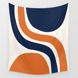 Abstract Shapes 66 in Vintage Orange and Navy Blue Wall Tapestry