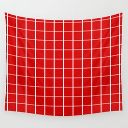Large White on Red Grid Pattern | Wall Tapestry