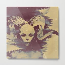 Goat Woman of the Woods Metal Print