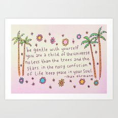 Be Gentle With YourSelf Inspirational Quote Drawing Art Print