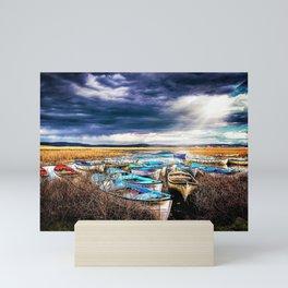 Blue Boats on the Shore Mini Art Print