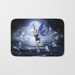 Blue Fairy and Butterflies Bath Mat