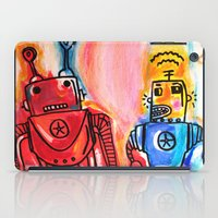 get shit done iPad Cases featuring Robots Get Shit Done by The Fem Fox