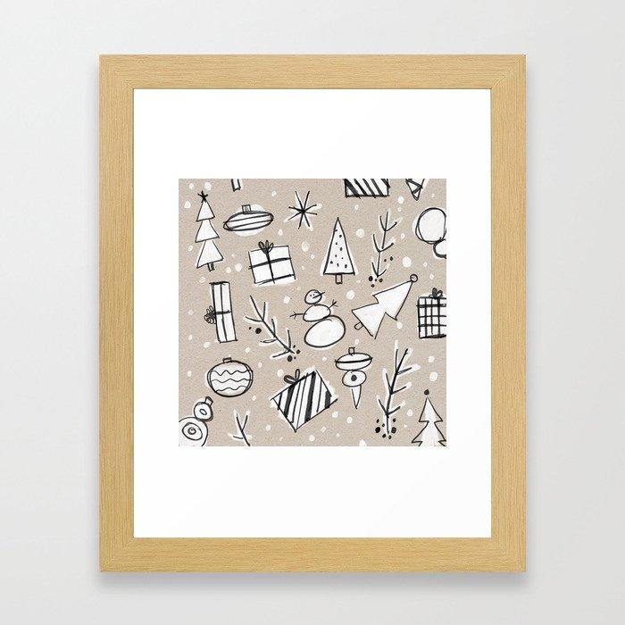 Christmas White and Kraft Sketches Framed Art Print