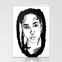 fka twigs Stationery Cards featuring Fka Twigs by Giorgia Ruggeri
